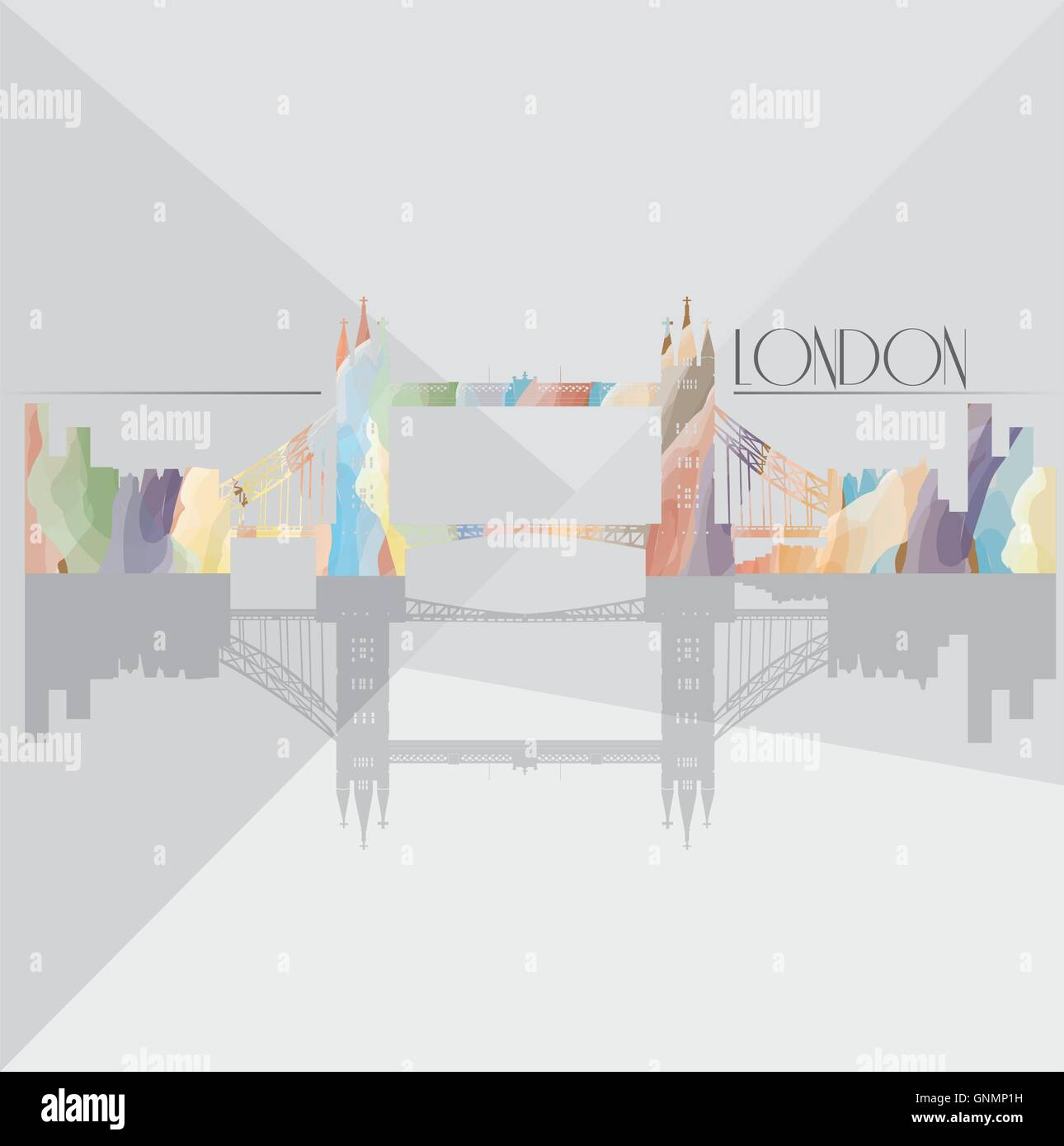 Isolated textured cityscape of London on a grey background - Stock Vector