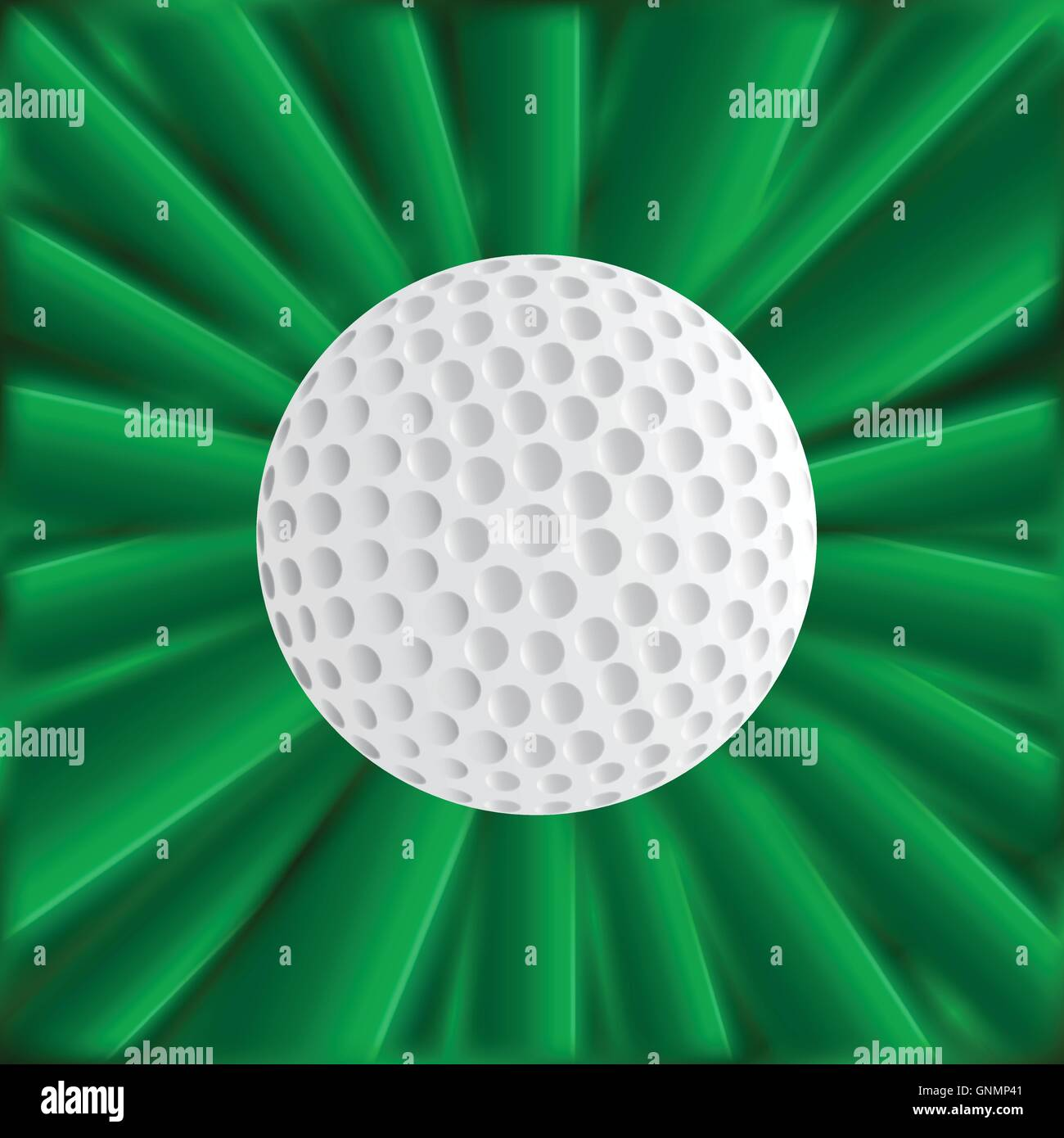 Golf Ball Over Green - Stock Image
