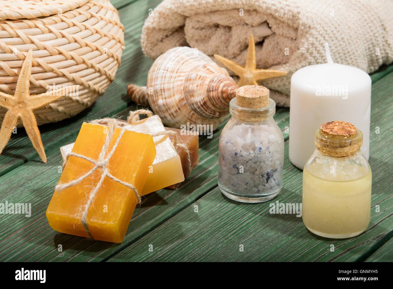 colorful natural herbal soaps Stock Photo