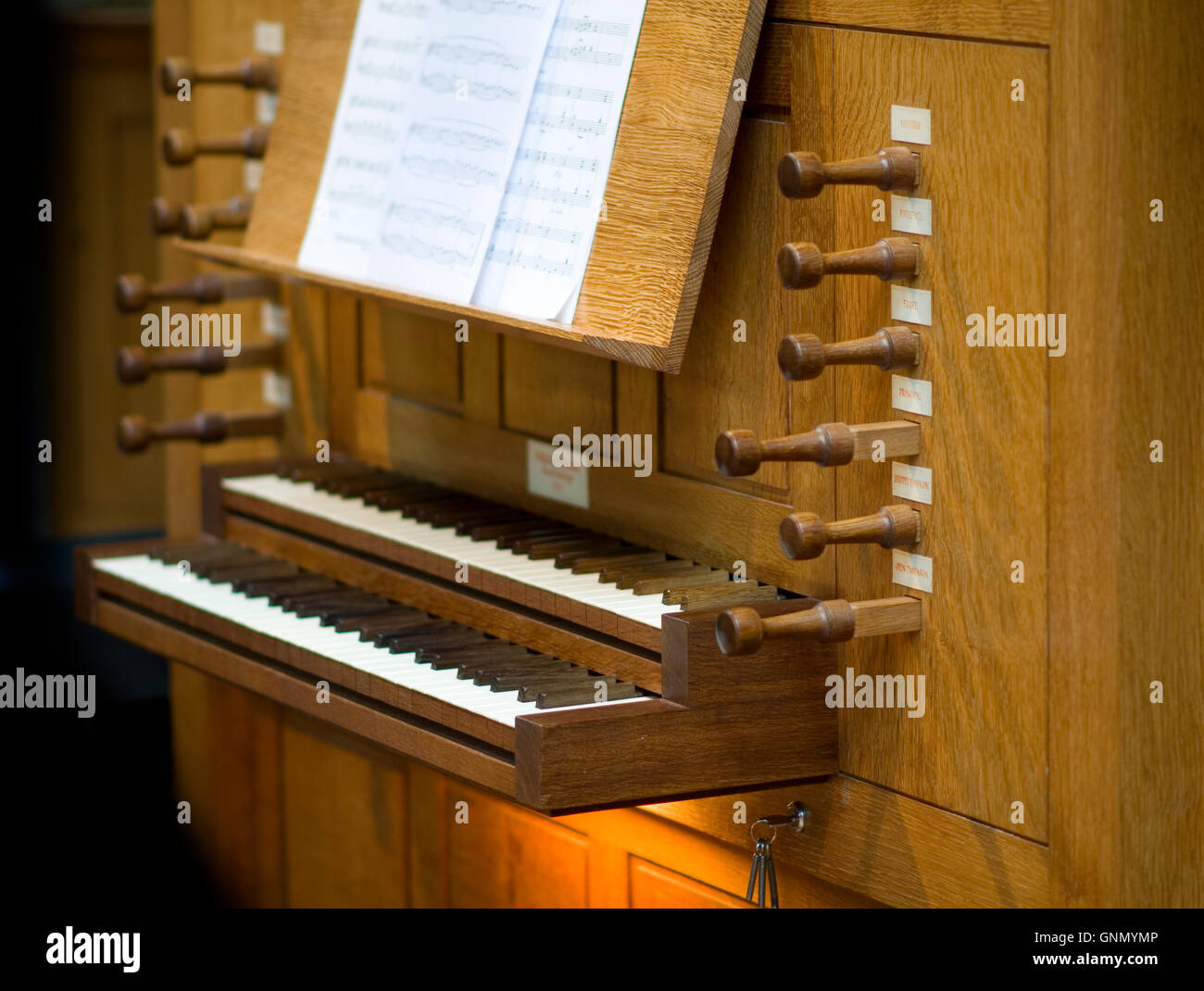 Modern church organ in St Michael and All Angels Church in Stourport Stock Photo