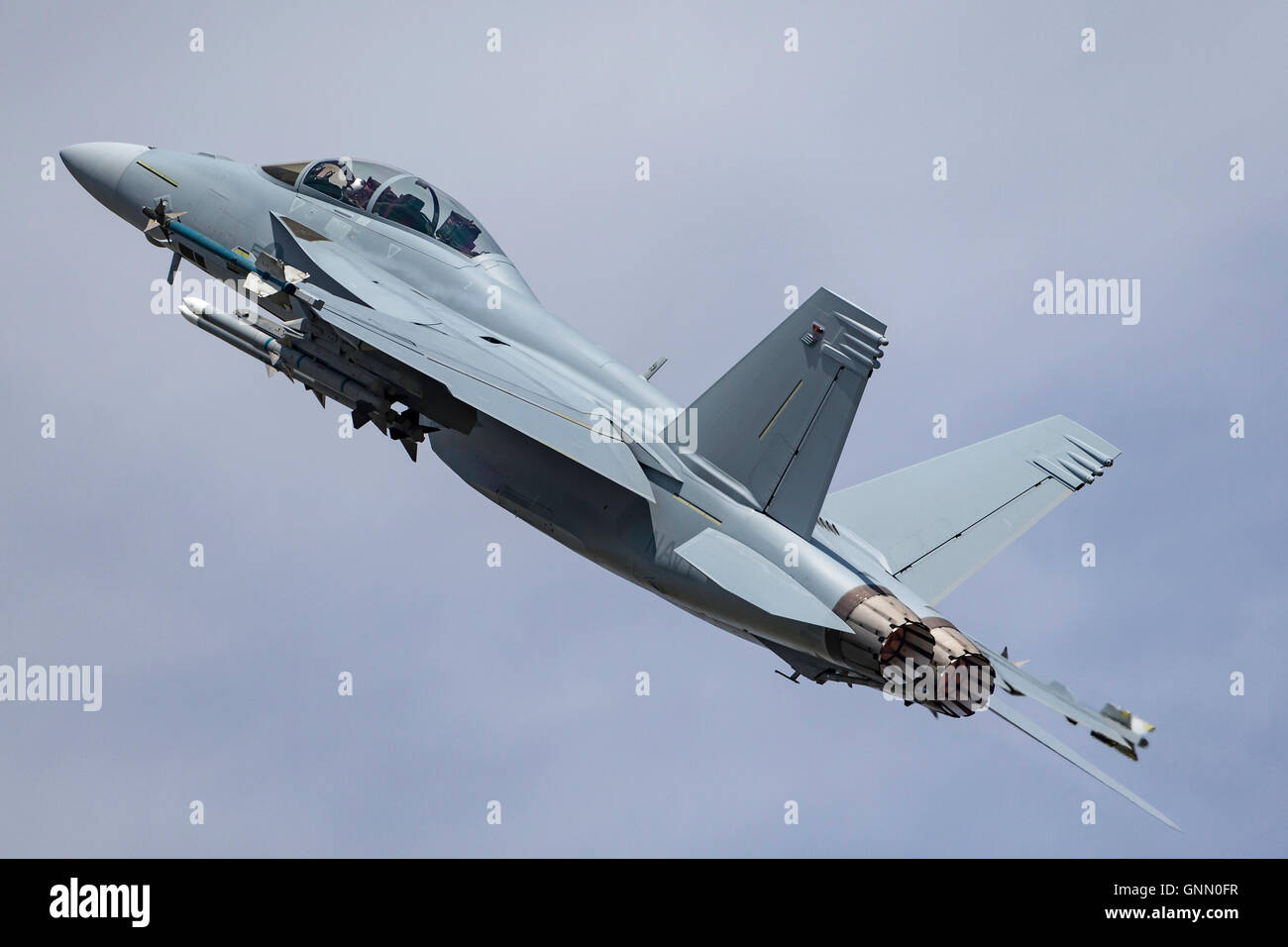 United States Navy Boeing F/A-18F Super Hornet multirole fighter aircraft. Stock Photo