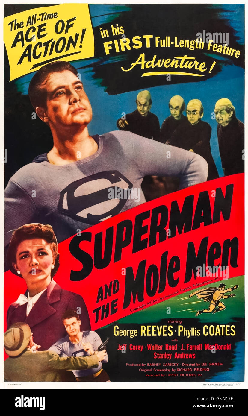 Superman and the Mole-Men (1951) directed by Lee Sholem and starring George Reeves, Phyllis Coates and Jeff Corey. - Stock Image