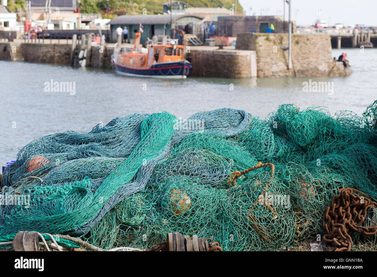 commercial fishing equipment in the harbor Stock Photo