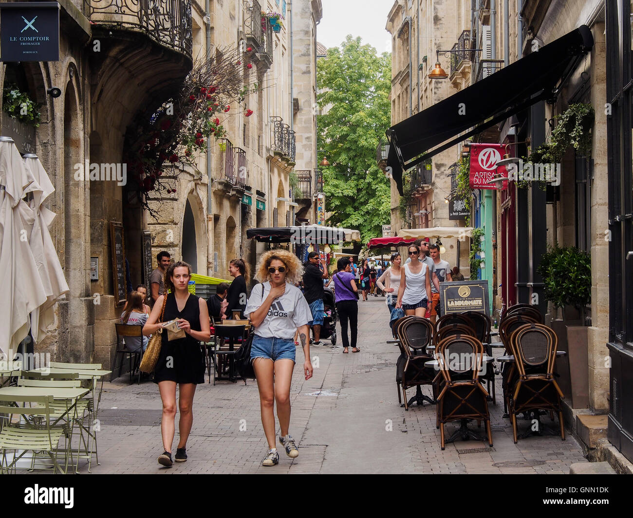 Shopping & Commercial street in the historic center of Bordeaux, Gironde. Aquitaine France Europe - Stock Image