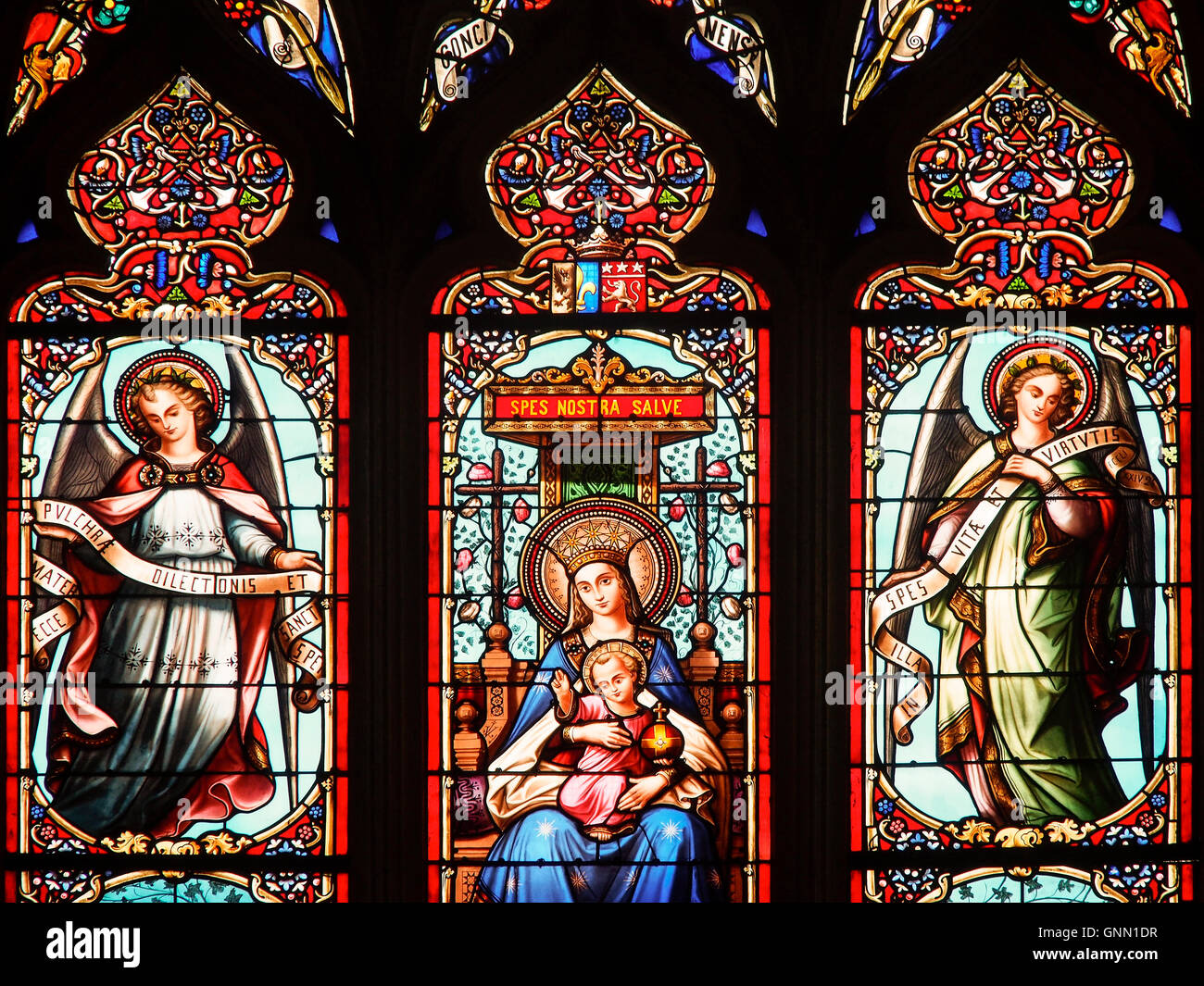 Stained glass window of a church, Eglise St Pierre, Bordeaux, Gironde. Aquitaine France Europe - Stock Image