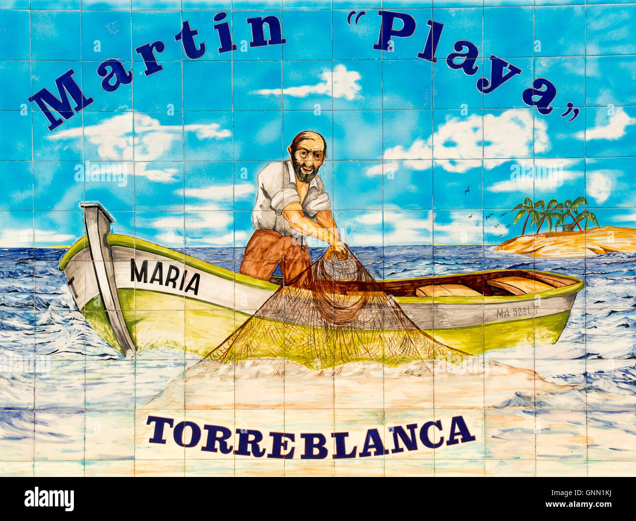 Ceramic tile, fisherman in a boat pulling out nets from the sea ...