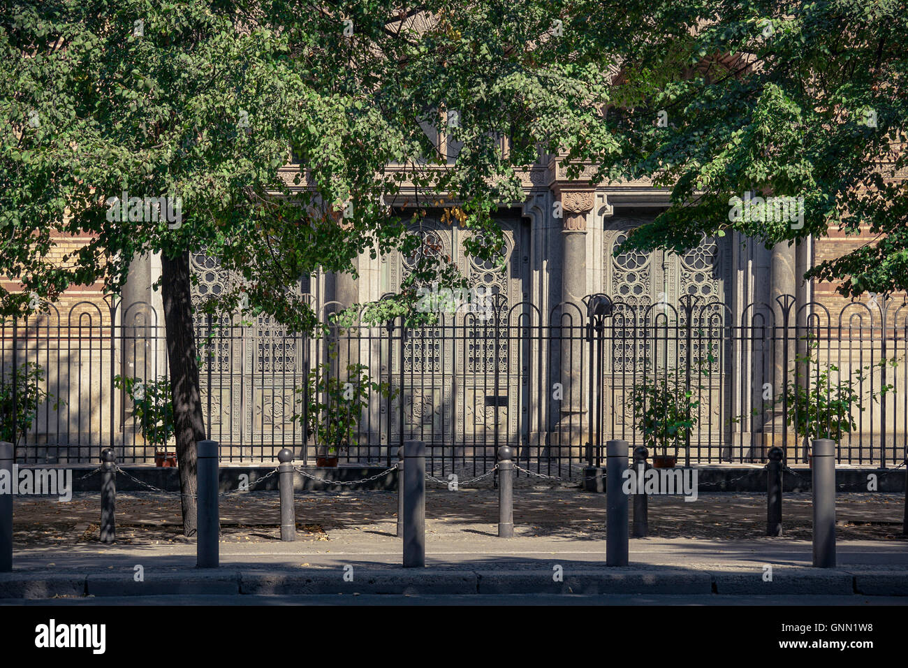 Fenced entrance of jewish New Synagogue in Berlin, Germany Stock Photo