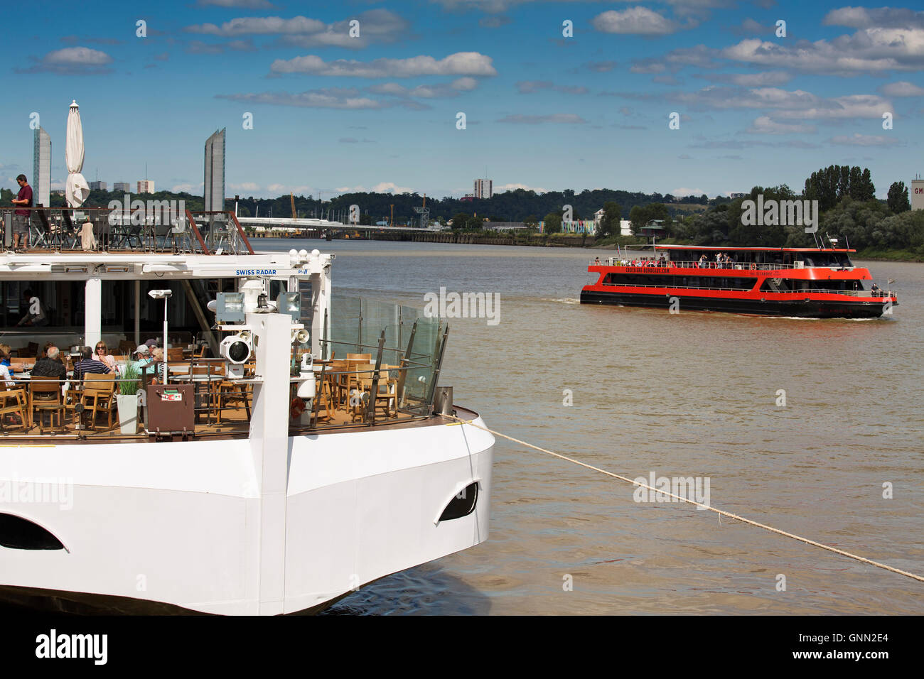 Cruise ships in the Garonne river harbour. Bordeaux, Gironde. Aquitaine France Europe - Stock Image