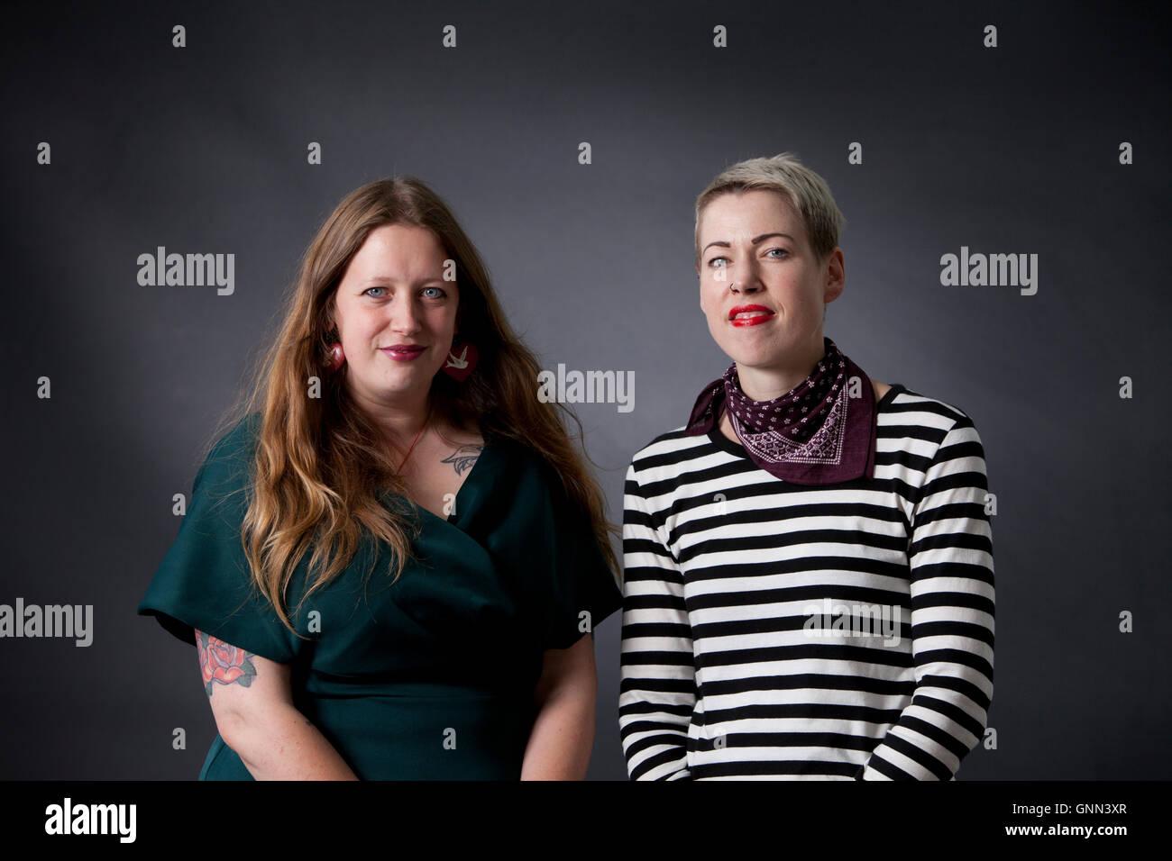 Claire Askew (left) and Helen Mort, at the Edinburgh International Book Festival. Edinburgh, Scotland. 13th August - Stock Image