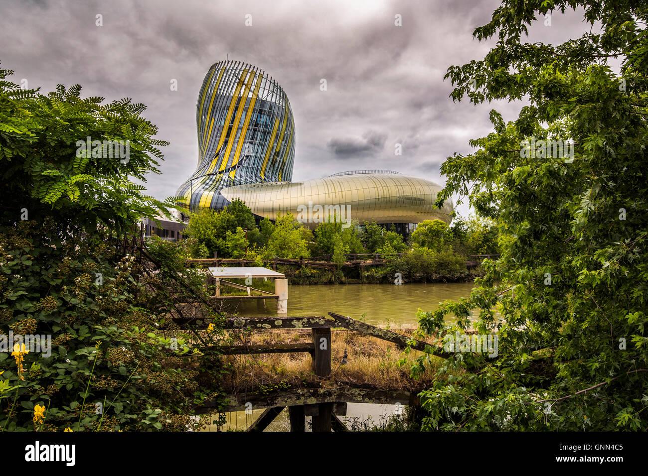 La Cité du Vin, Wine house museum. Bordeaux, Gironde. Aquitaine France Europe - Stock Image