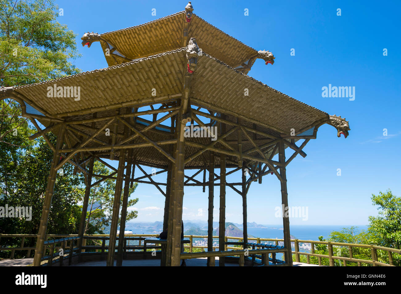 View through the traditional bamboo-inspired Chinese pagoda architecture of the Vista Chinesa scenic overlook in Stock Photo