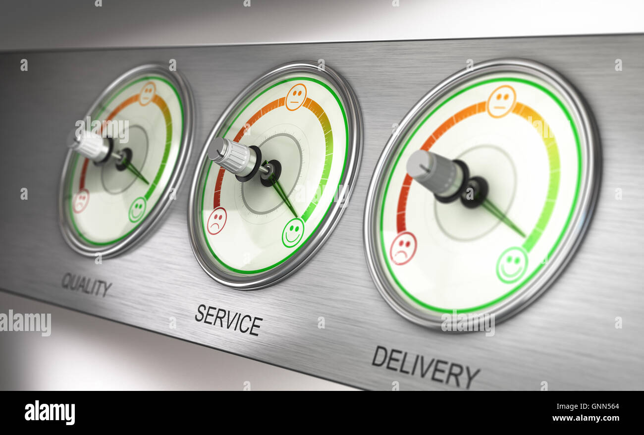 3D illustration of a feedback device with three dials, quality, service and delivery with the needle pointing the - Stock Image