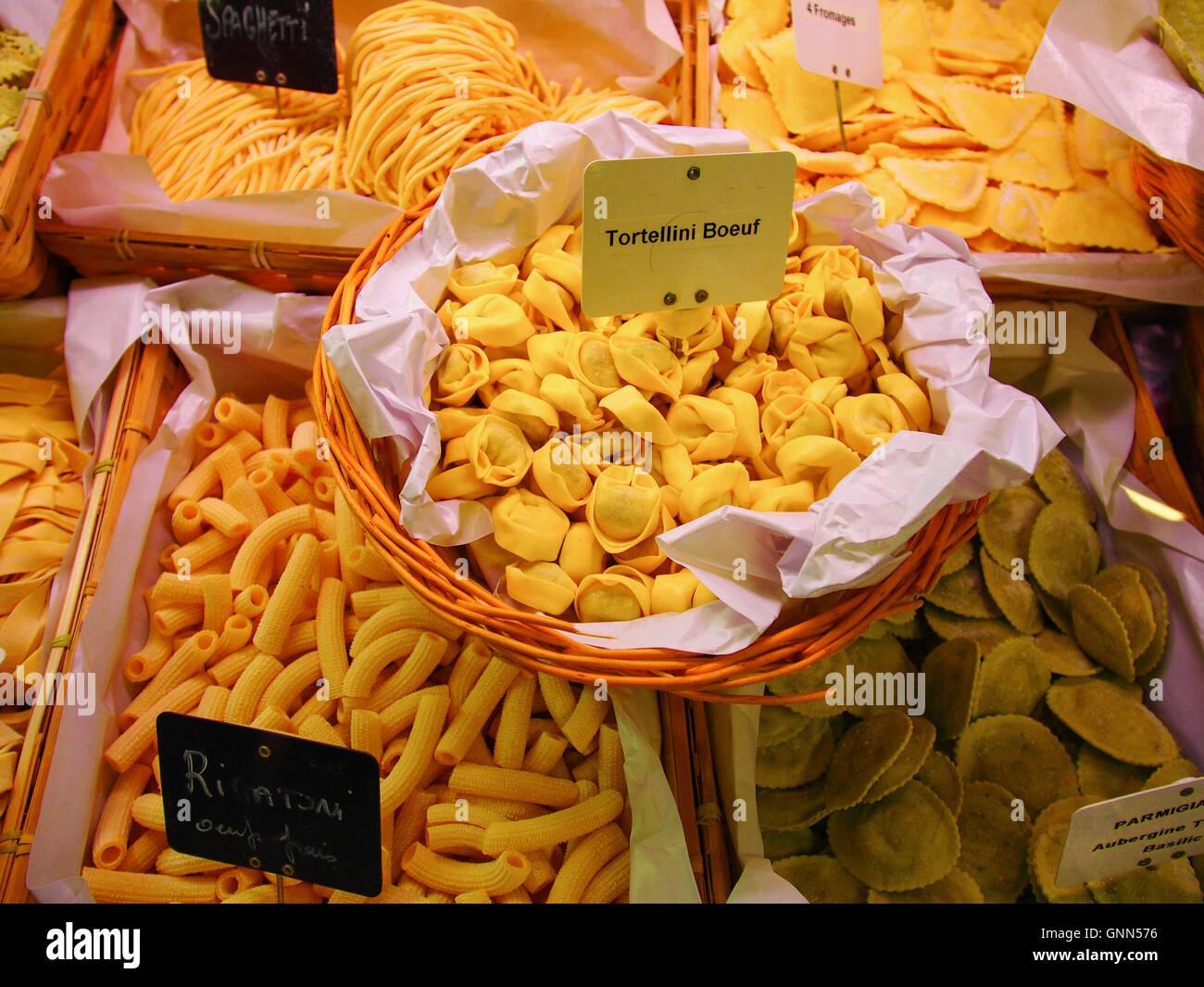 Market, different Italian pasta, Marché des Capucins,  Bordeaux, Gironde. Aquitaine France Europe Stock Photo