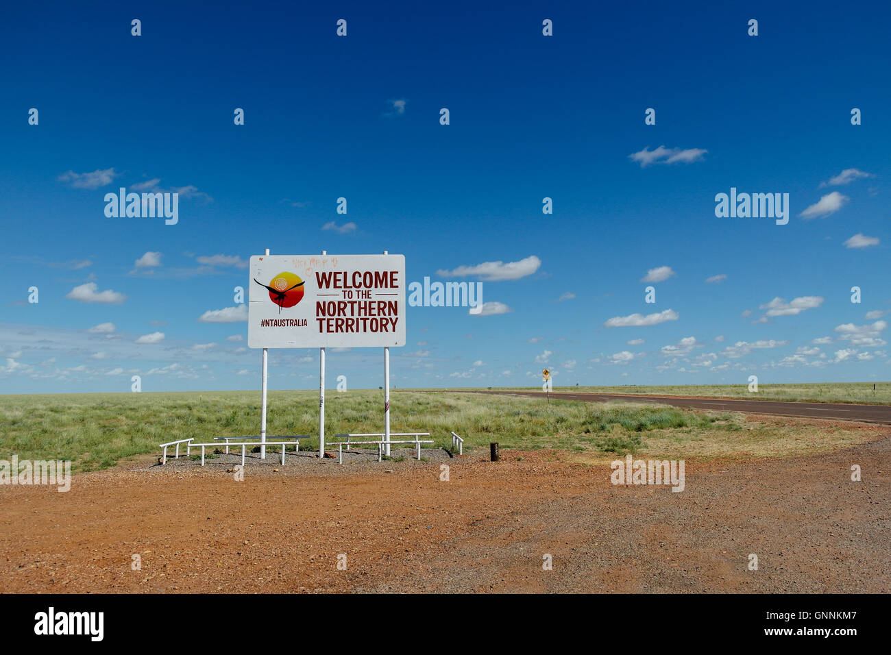 Welcome to Northern Territory road sign in Central Australia - Australia - Stock Image
