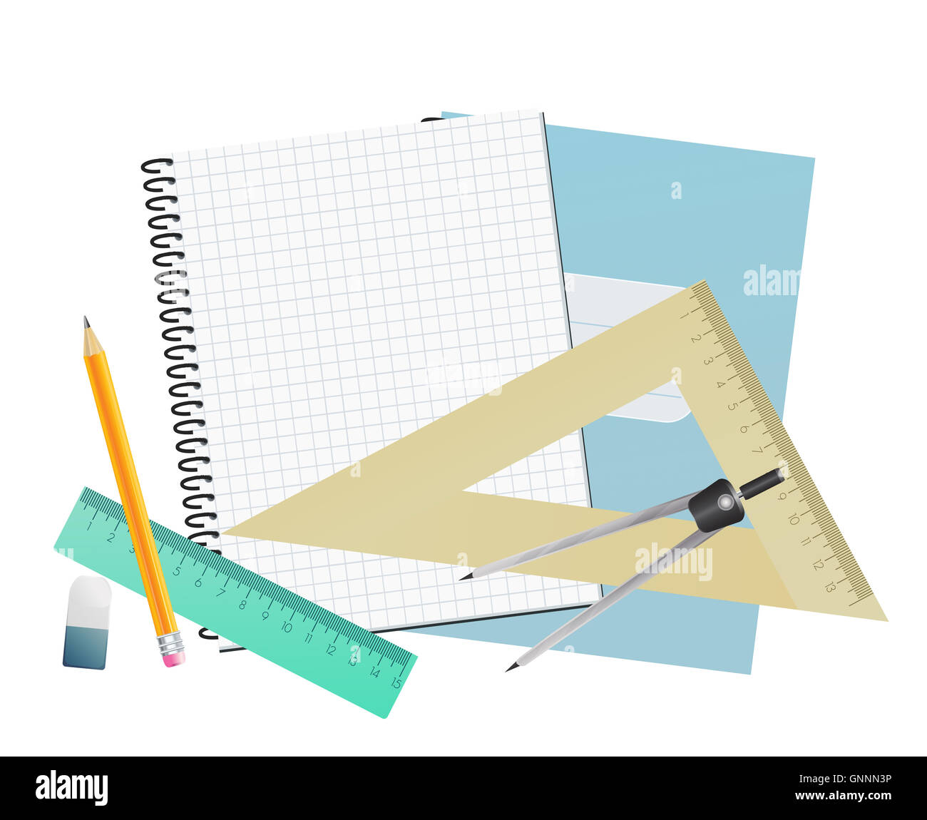 Notebook blank page, rulers, pencil, divider and eraser. School background. - Stock Image
