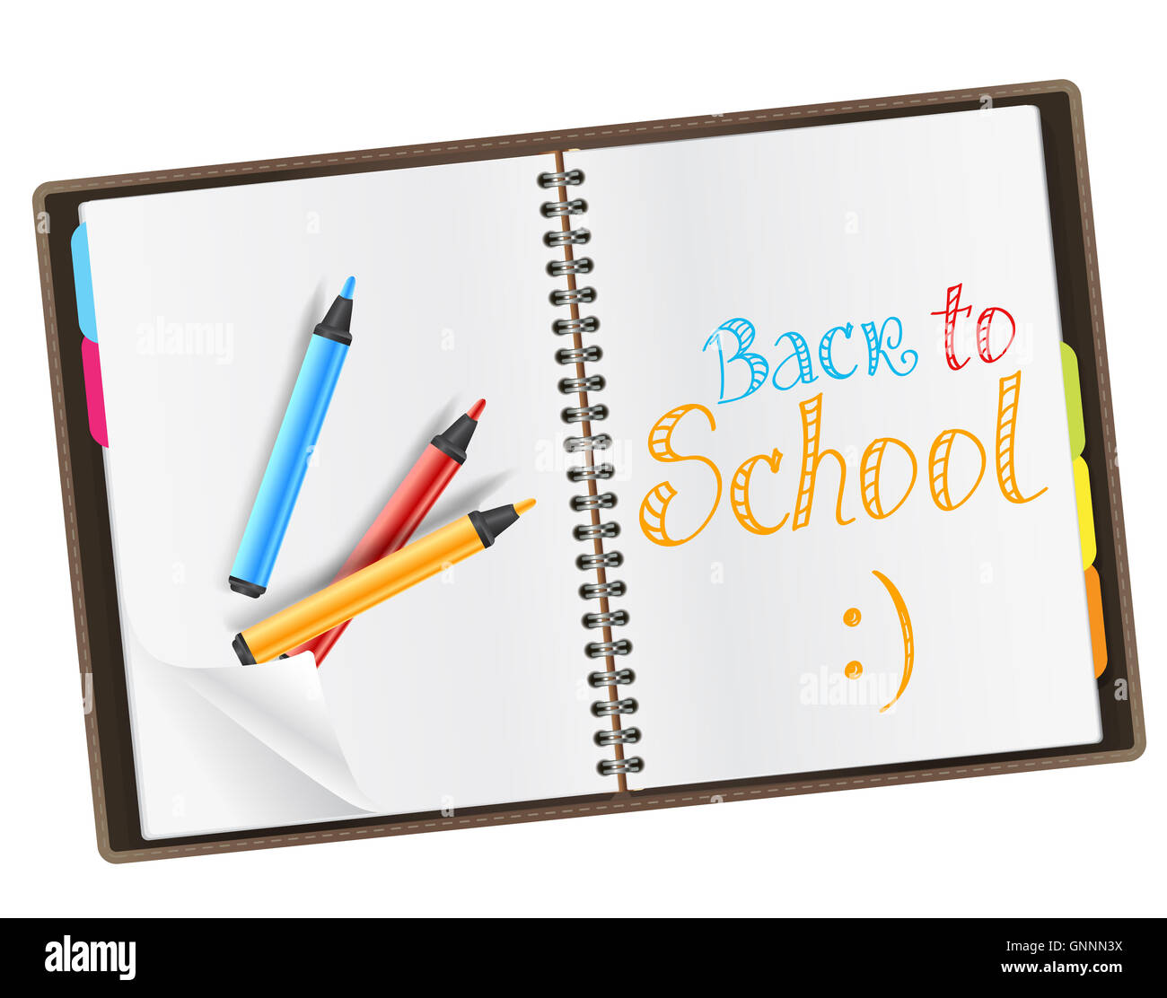 open diary with back to school quote and color markers - Stock Image
