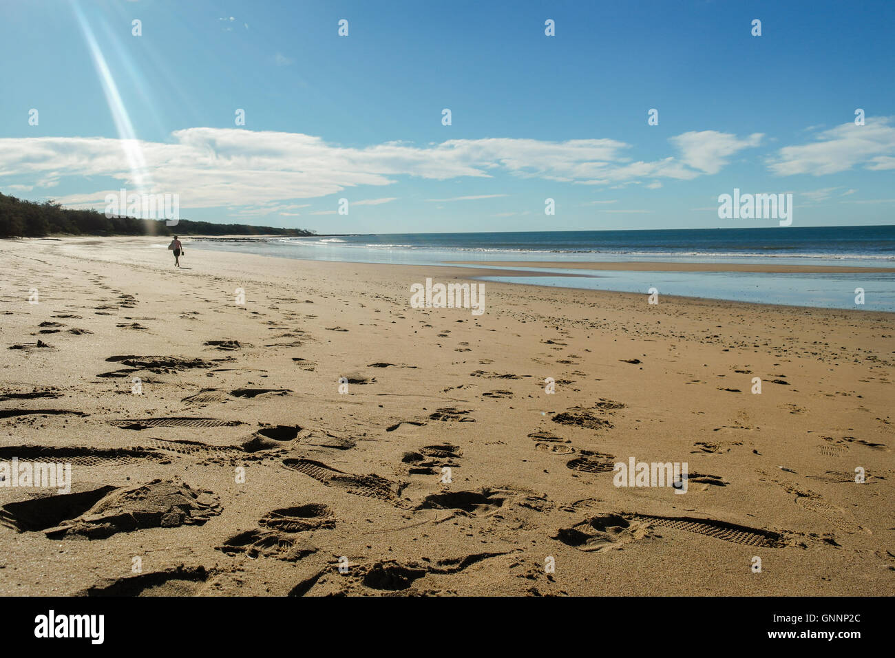 Woman walking at Mon Repos beach near Bundaberg, Queensland - Australia - Stock Image