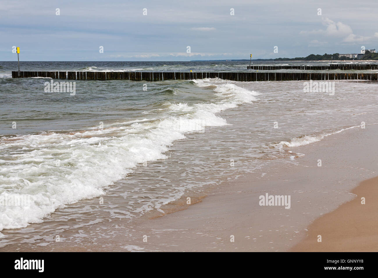 Gentle waves in the waters of the Baltic Sea - Stock Image