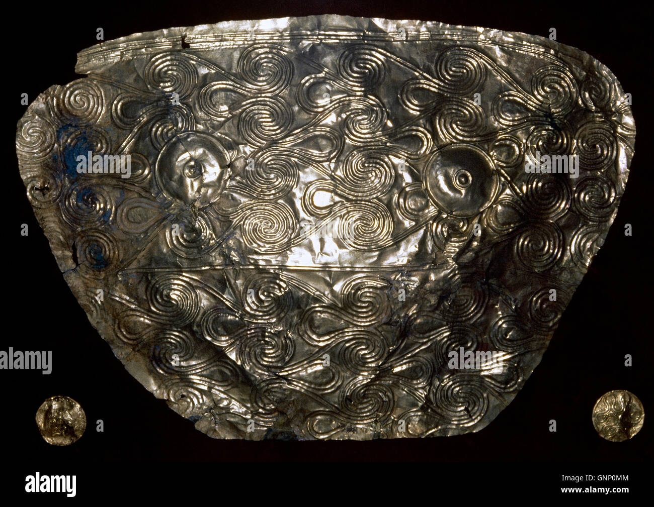 Mycenaean art. Gold pectoral (breastplate). From tomb V. 16th century BC. Mycenae. National Archaeological Museum - Stock Image