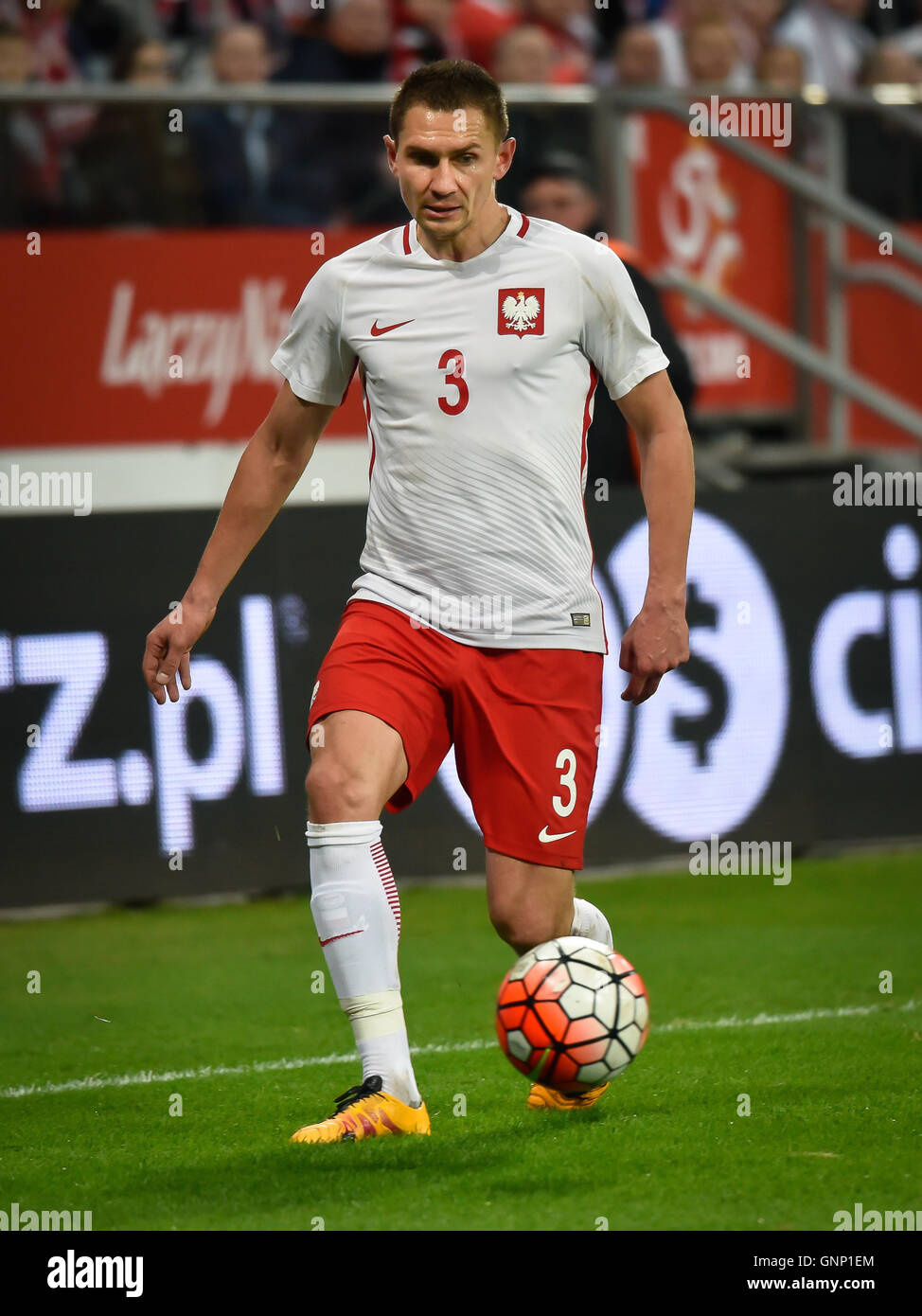 WROCLAW, POLAND - MARCH 26, 2016: Artur Jedrzejczyk in action during International Football friendly match Poland - Stock Image