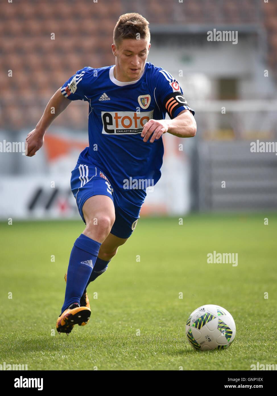 LUBIN, POLAND - APRIL 3, 2016: Radoslaw Murawski in action during match Polish Premer League KGHM Zaglebie Lubin - Stock Image