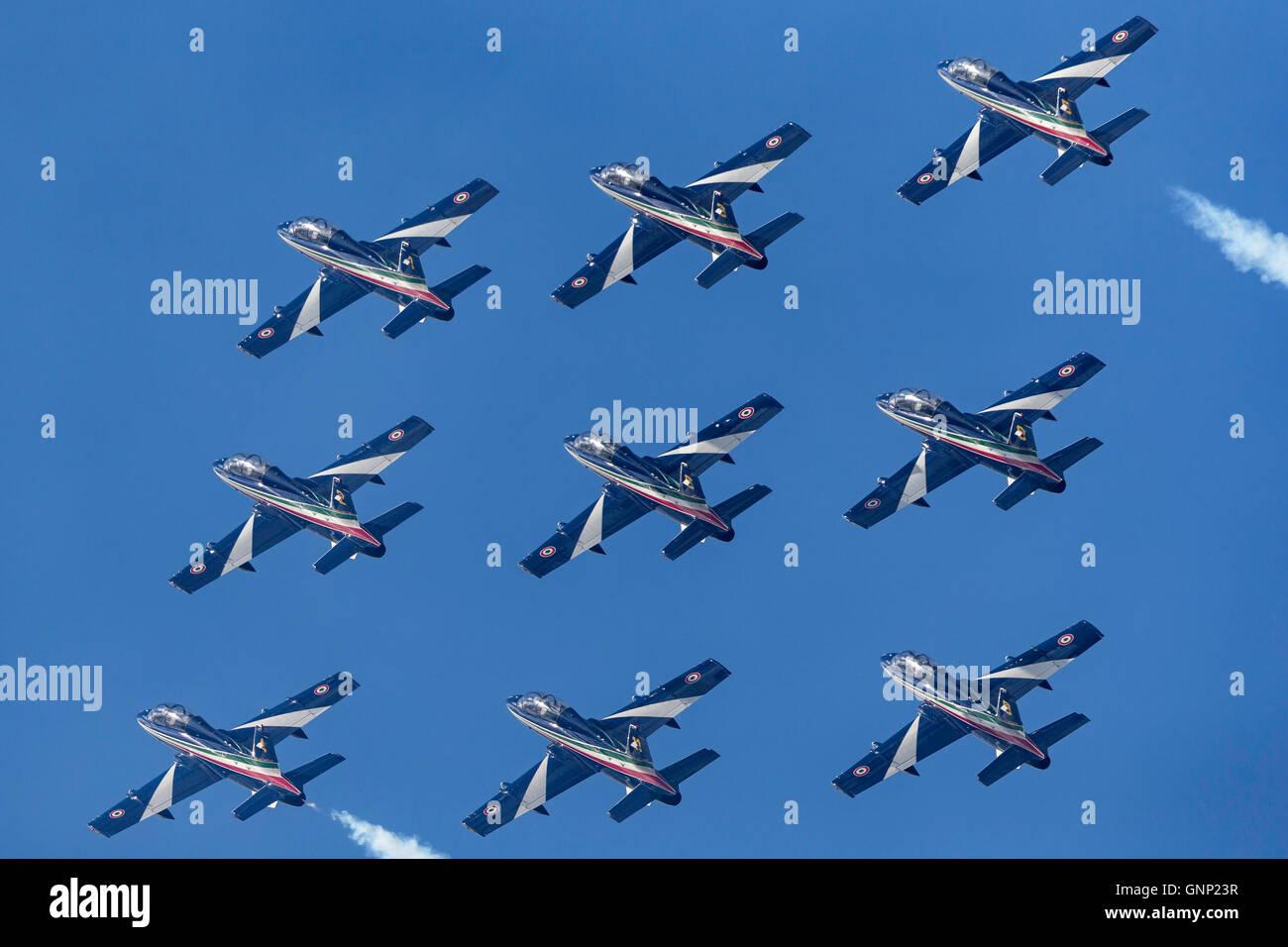 Frecce Tricolori formation aerobatic display team of the Italian Air Force Aeronautica Militare Italiano flying Stock Photo