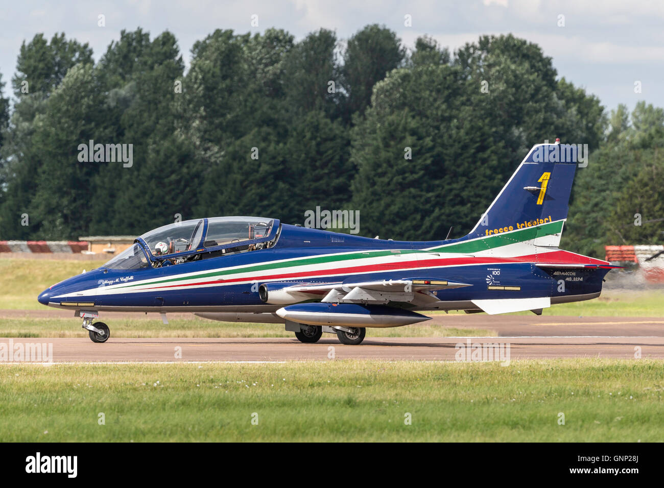 Frecce Tricolori formation aerobatic display team of the Italian Air Force Aeronautica Militare Italiano flying Stock Photo