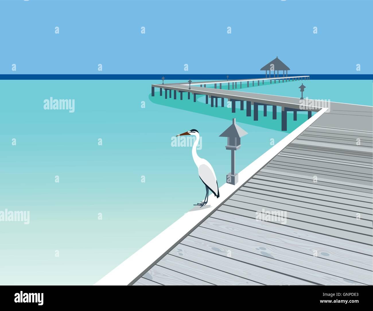 Heron is on the tropical resort wooden pier vector illustration - Stock Vector