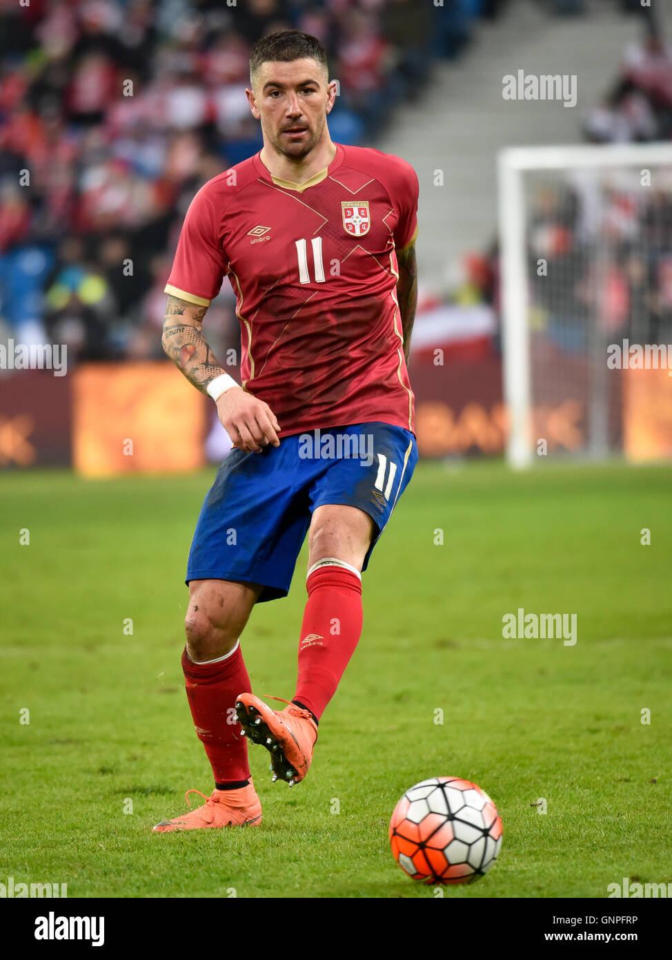POZNAN, POLAND - MARCH 23, 2016: Aleksandar Kolarov in action during International Football friendly match Poland - Stock Image