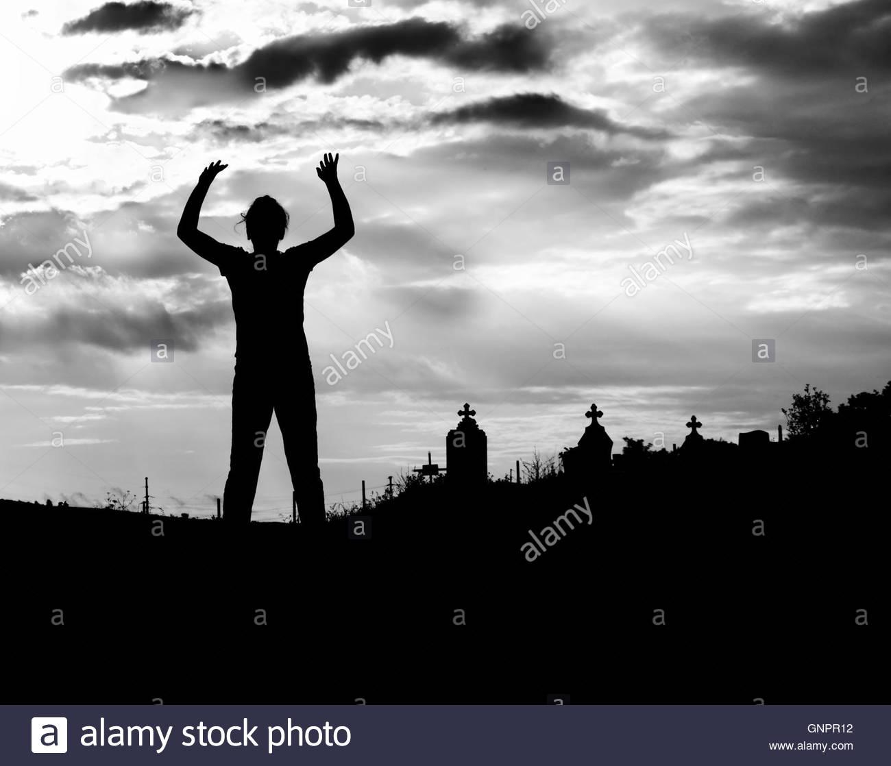 Zombie silhouette - Stock Image