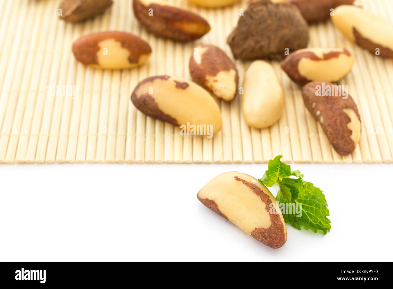 bertholletia excelsa, known as Brazil Nuts. Rich source of selenium and antioxidant - Stock Image