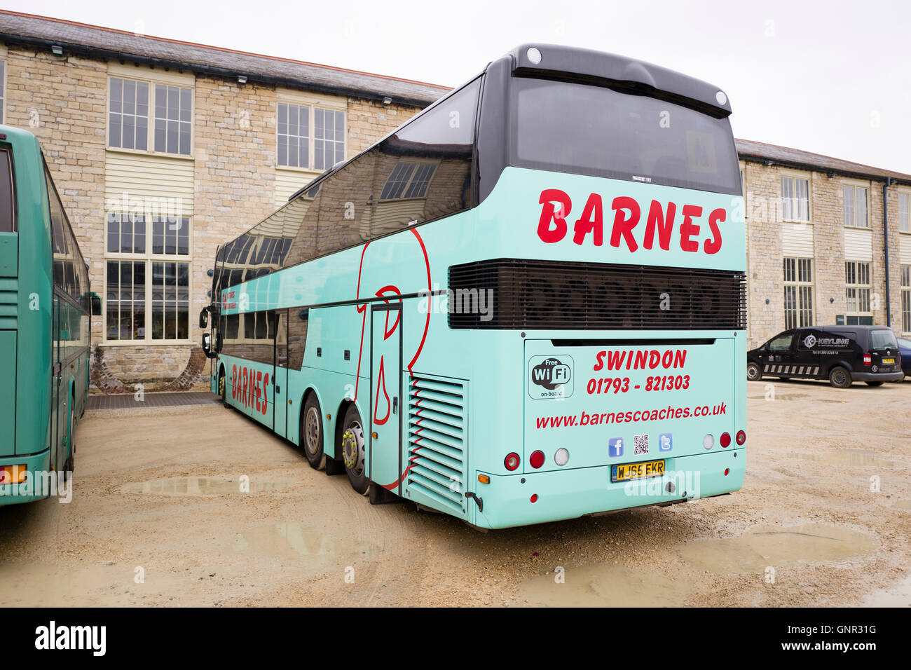A double-decker touring coach operated by Barnes of Swindon UK - Stock Image