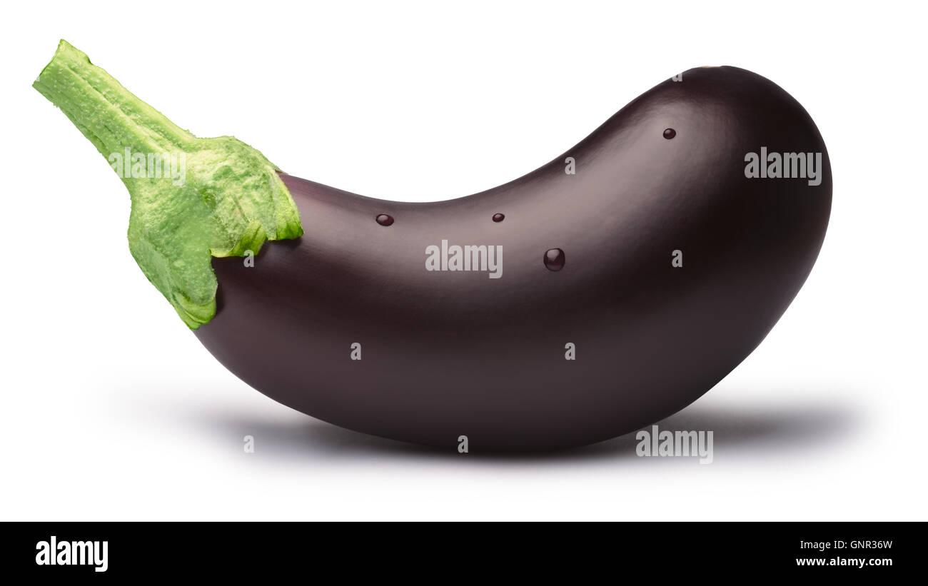 Eggplant (Solanum melongena), whole, fresh. Clipping path, shadow separated. Design elements Stock Photo