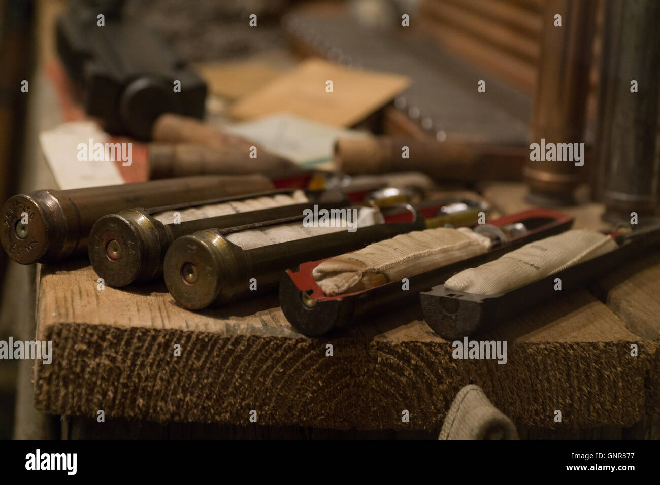 Bullet shell casings with interiors exposed at the Military Museum,Jersey,Channel Islands - Stock Image