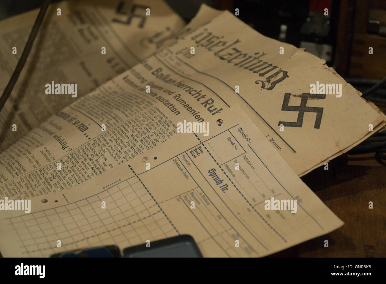 A local paper produced during the German Occupation of Jersey,Channel Islands,with Swastika on page corner - Stock Image