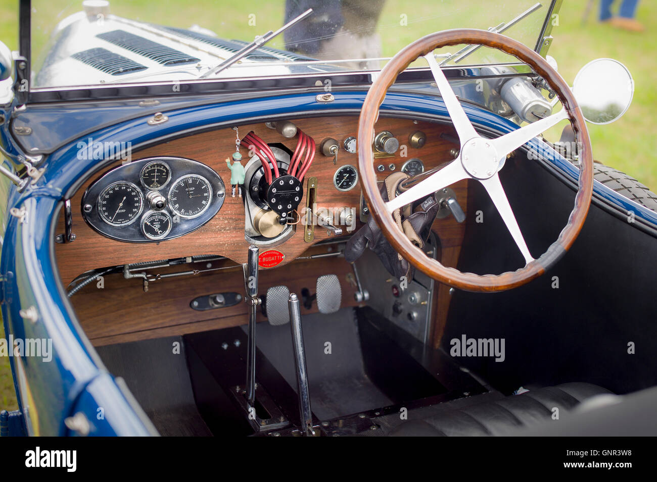 Inside the driving position in an old Bugatti automobile Stock Photo on
