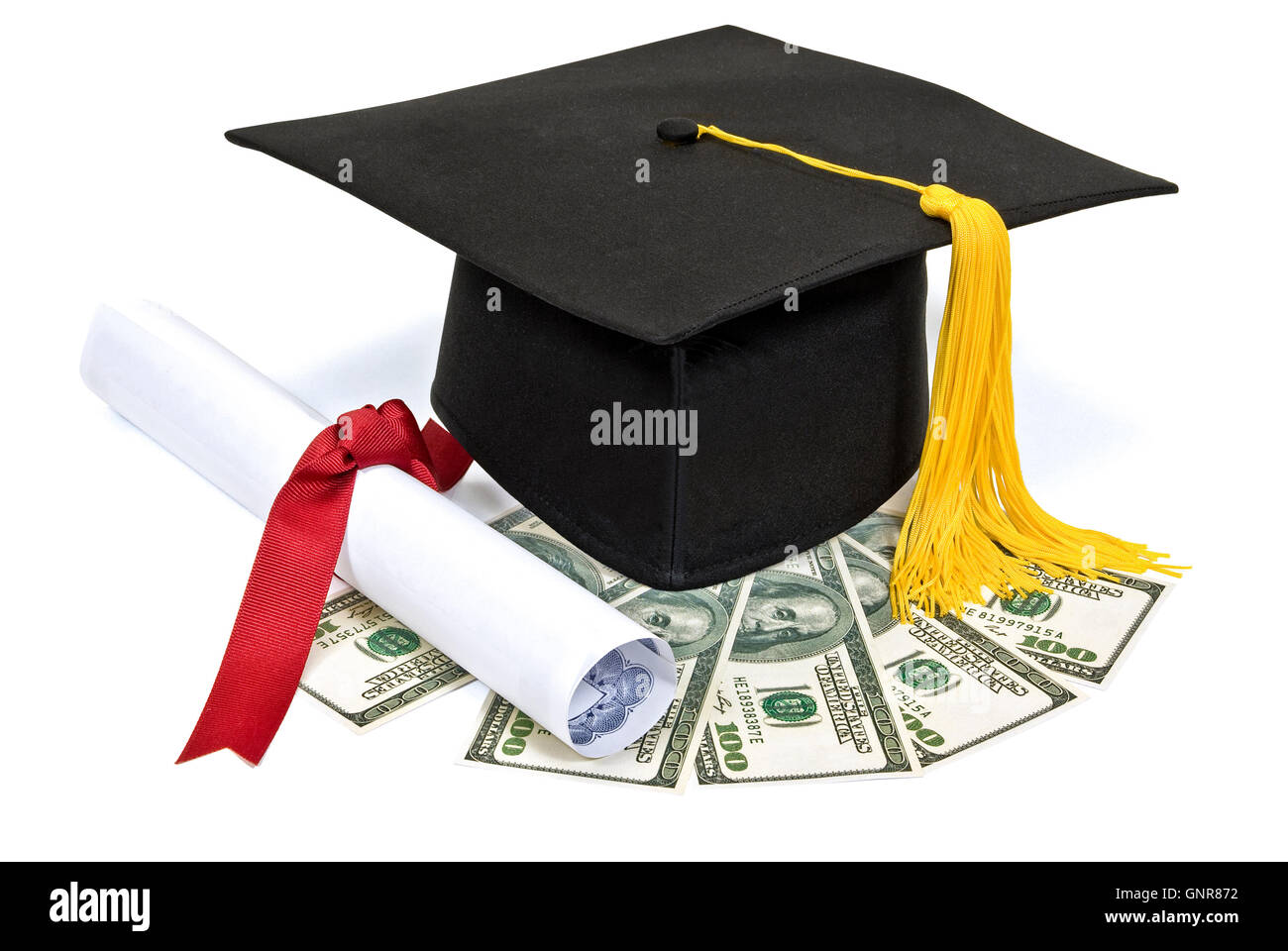 Graduation Hat With Diploma And Money - Stock Image