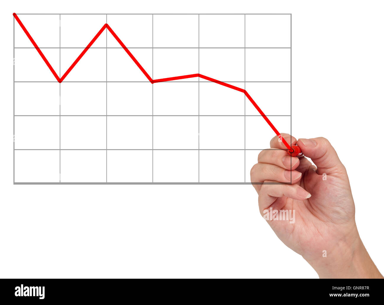 Hand Showing Decline In Market - Stock Image