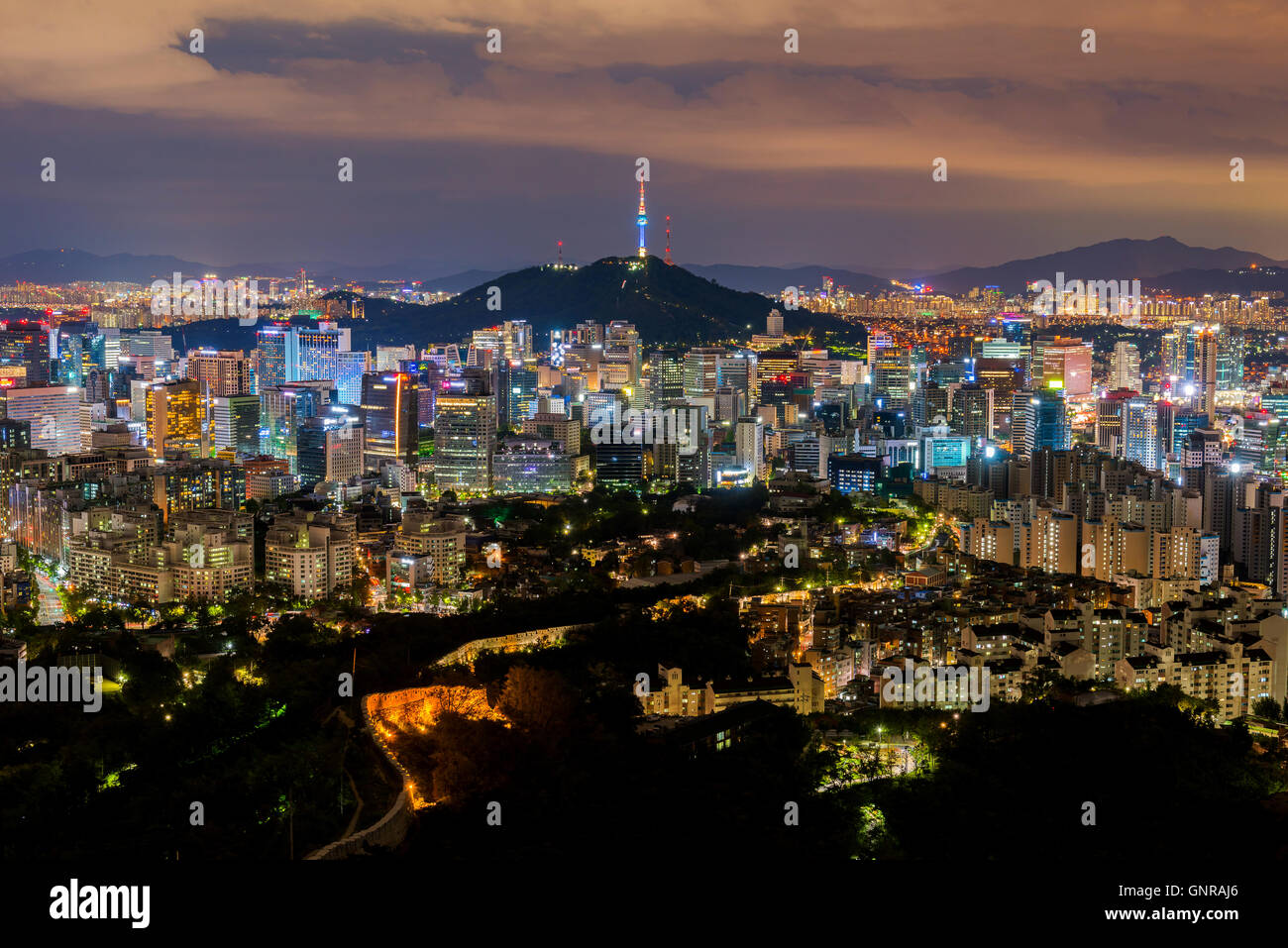 Korea,Seoul at night, South Korea city skyline. - Stock Image
