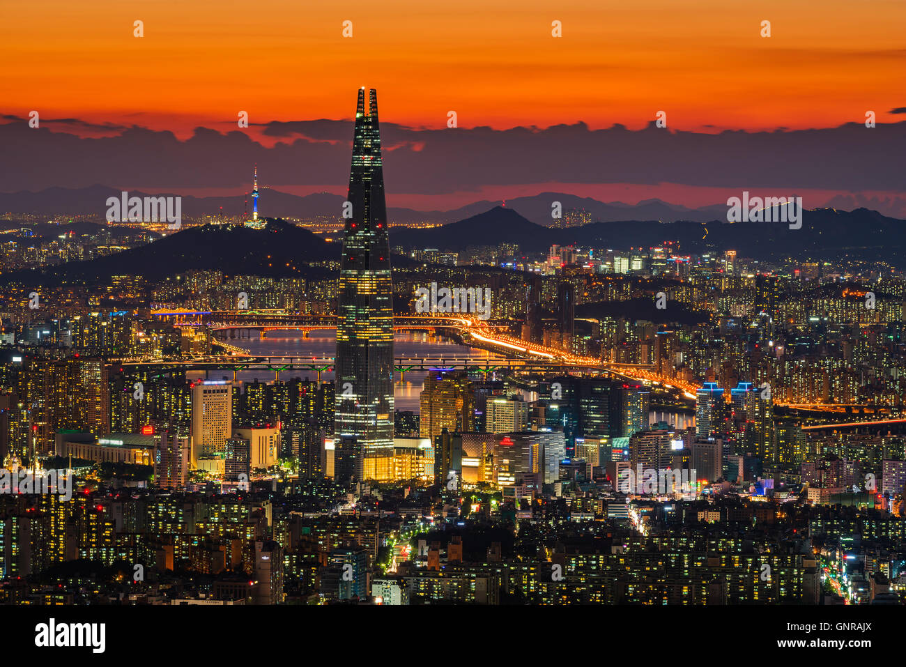 Sunset of Seoul City Skyline, The best view of South Korea. - Stock Image