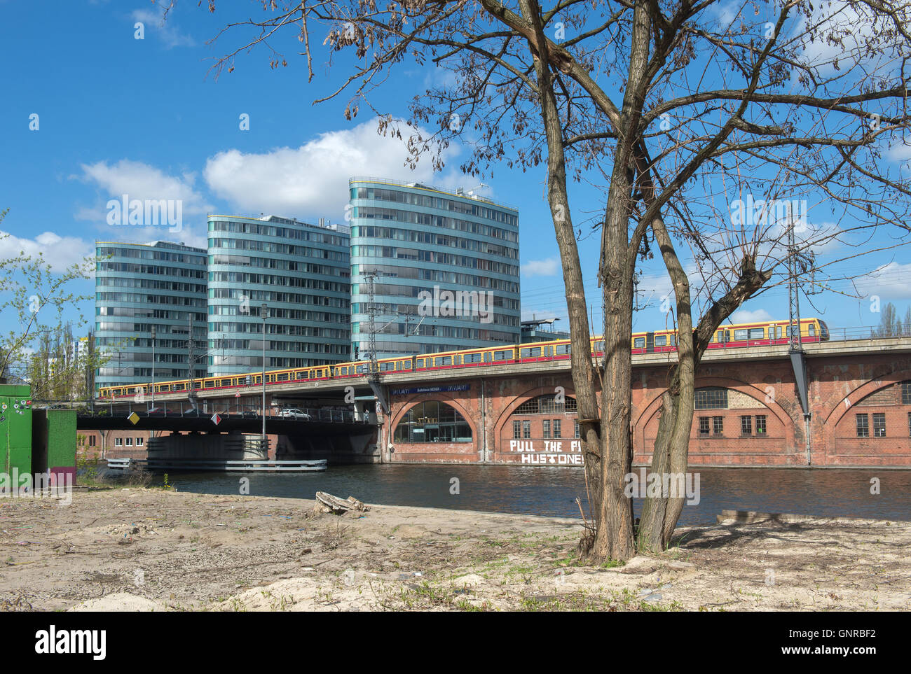 Berlin, Germany, view over the Spree to the Triassic buildings - Stock Image
