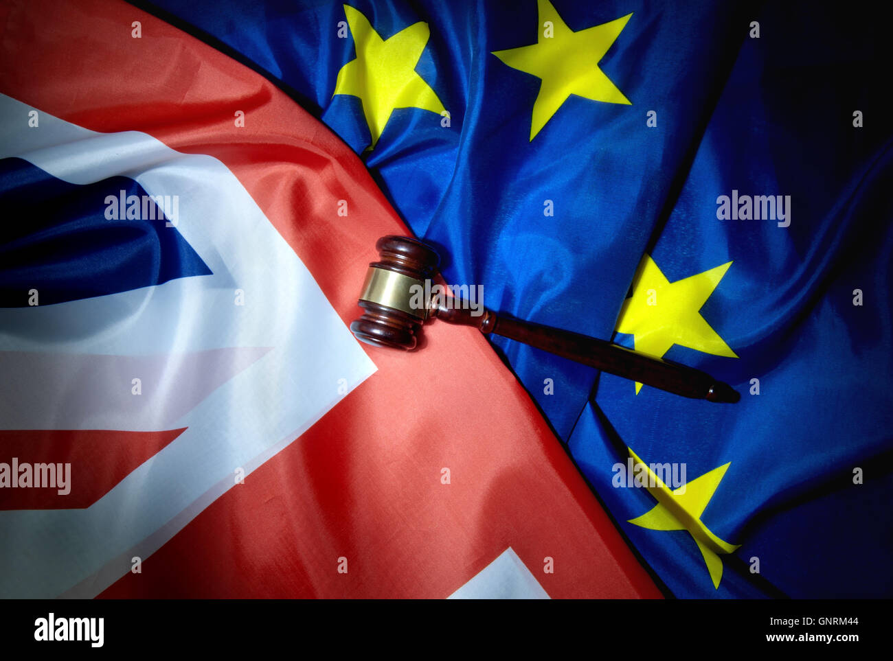 Gavel on top of British and European flags Stock Photo