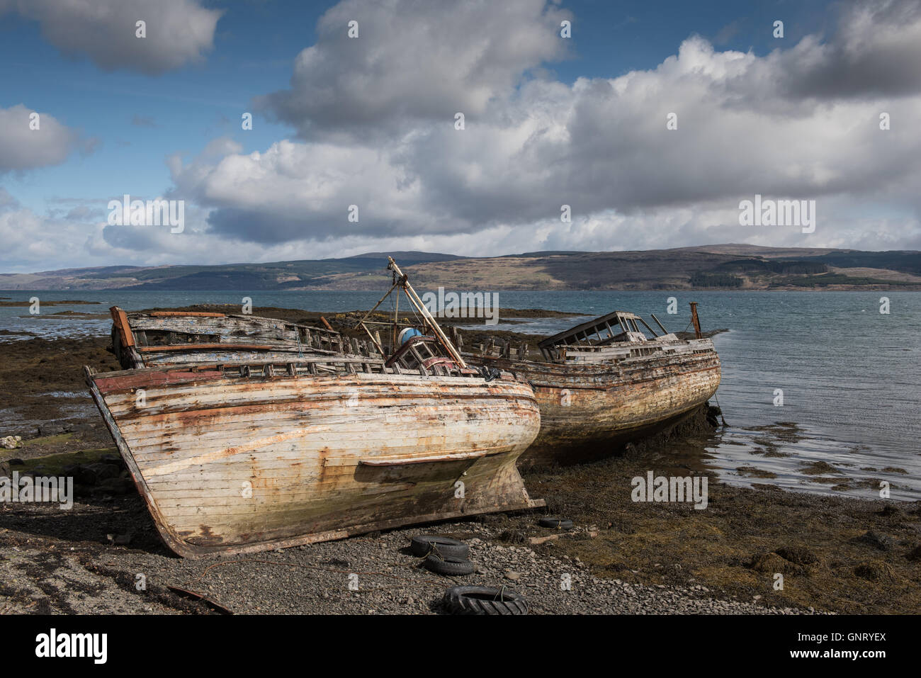 Tobermory, UK, shipwreck on the coast of the Isle of Mull