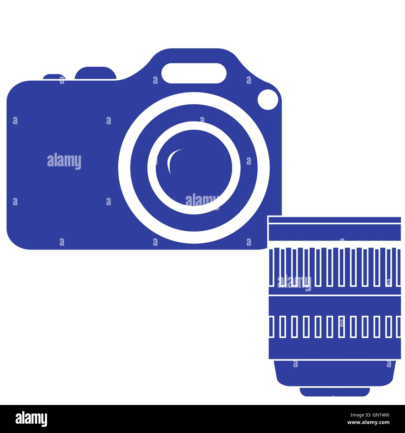 Stylized icon of a colored camera with lens on a white background - Stock Vector