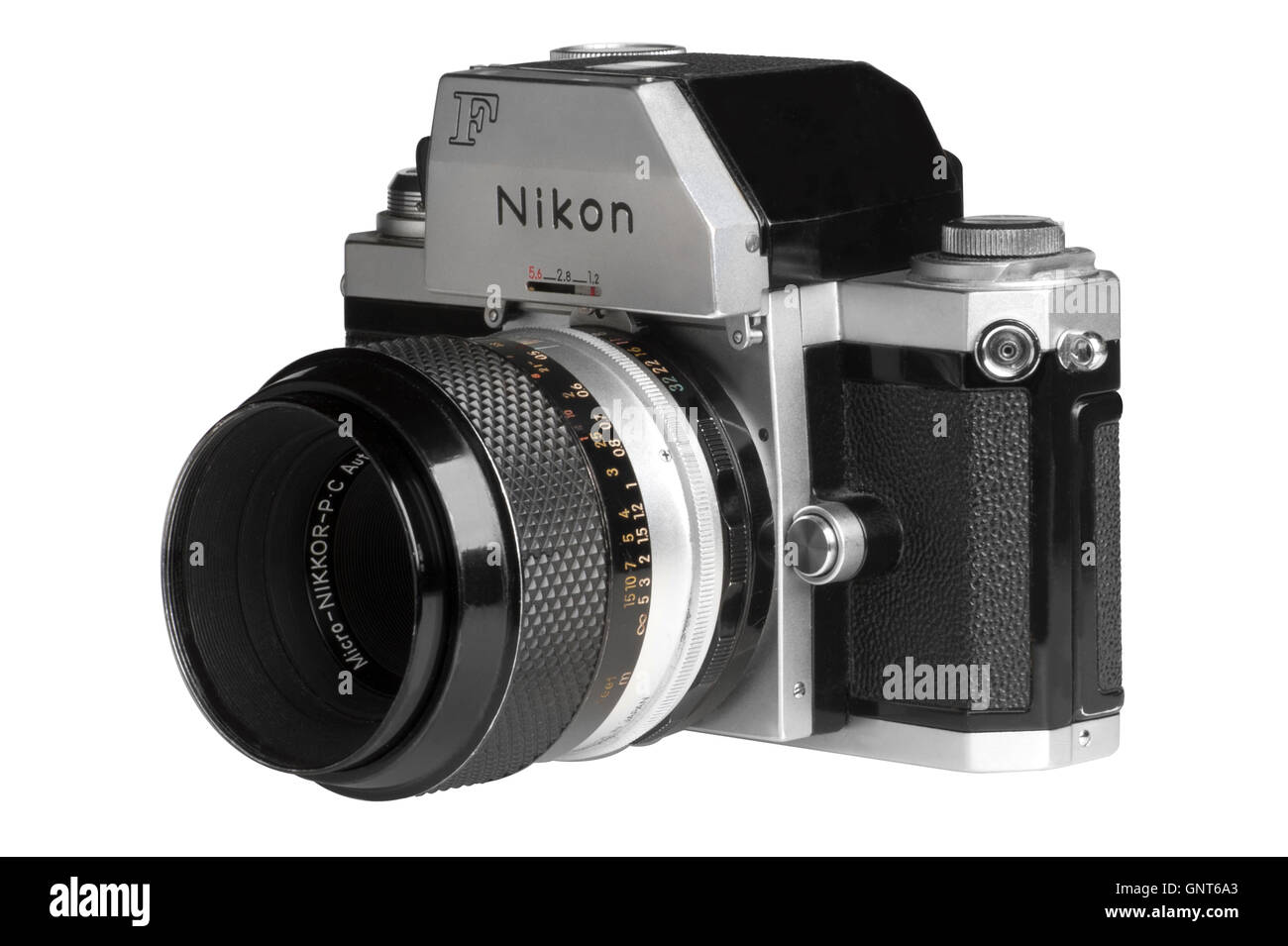 1971 Nikon F with Photomic FTn metering head, 55mm Micro-Nikkor attached.  Facing left - Stock Image