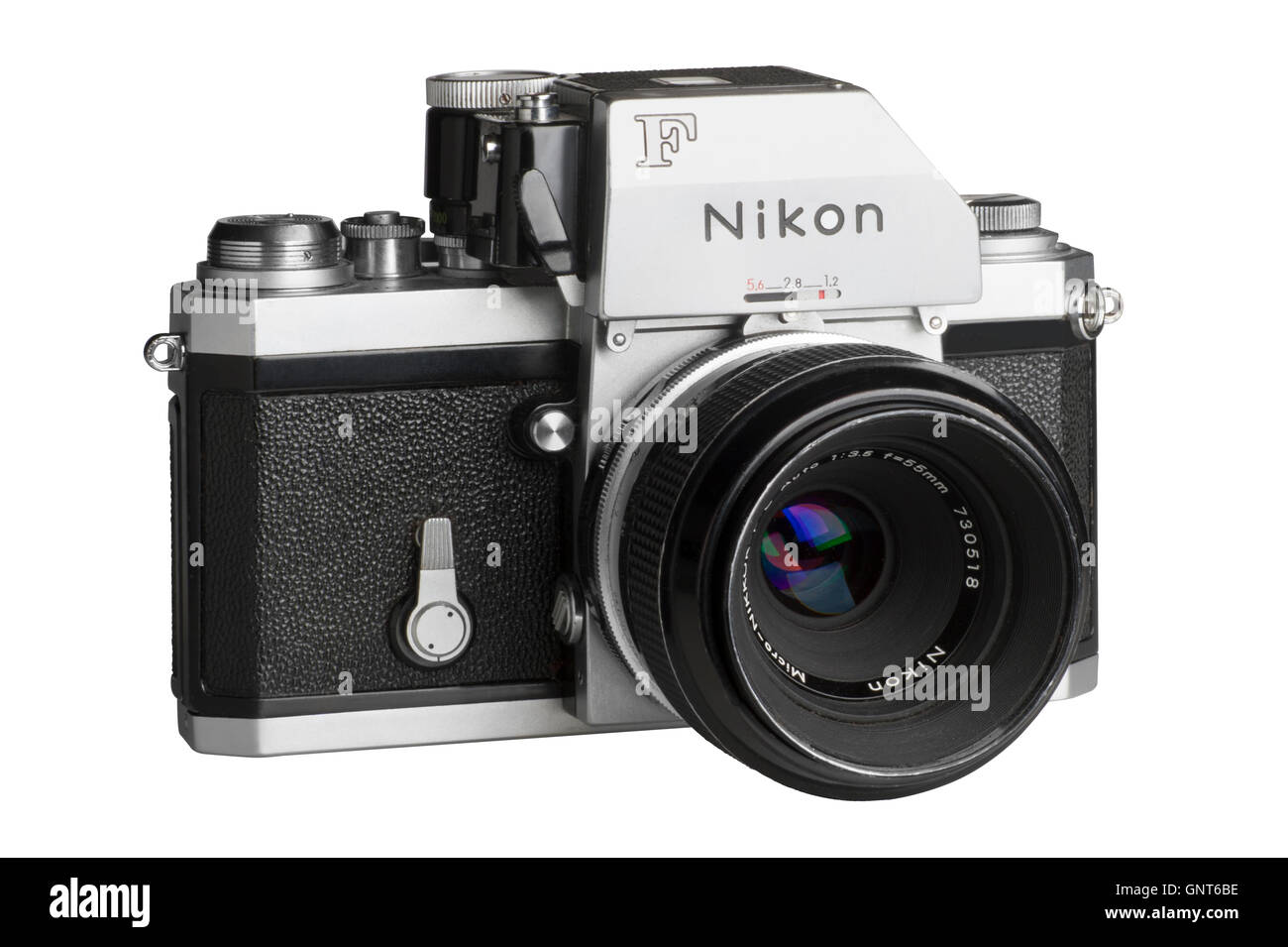 1971 Nikon F with Photomic FTn metering head, 55mm Micro-Nikkor attached.  Facing right - Stock Image