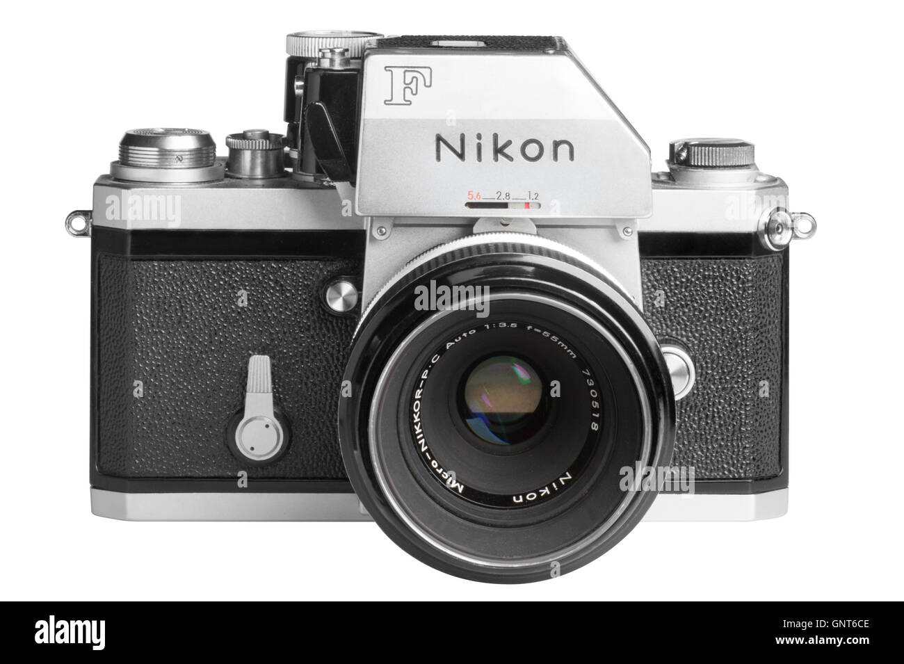 1971 Nikon F with Photomic FTn metering head, 55mm Micro-Nikkor attached.  Facing straight Stock Photo