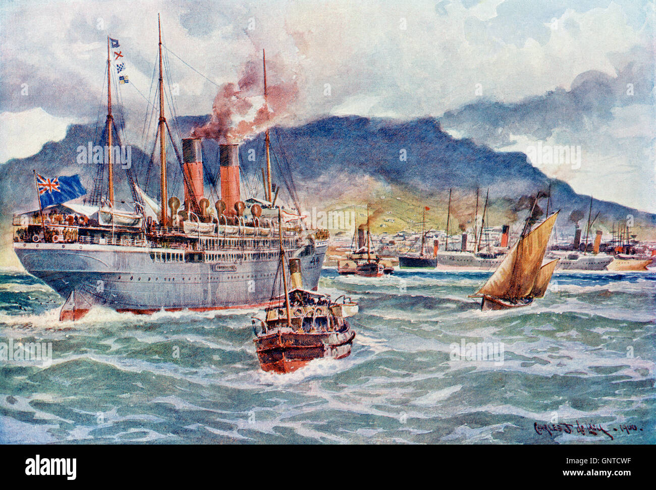 Transports in Table Bay, Cape Town, South Africa during the South African War 1899, aka The Second Boer War or Second - Stock Image