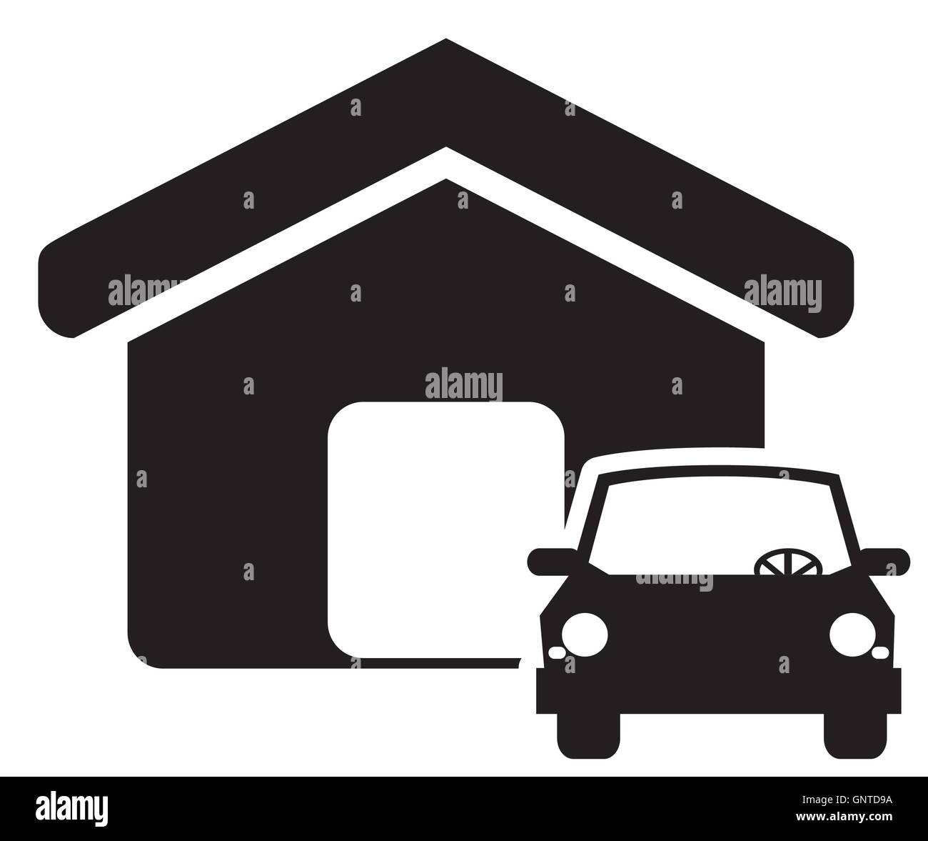 house and car icon Stock Vector