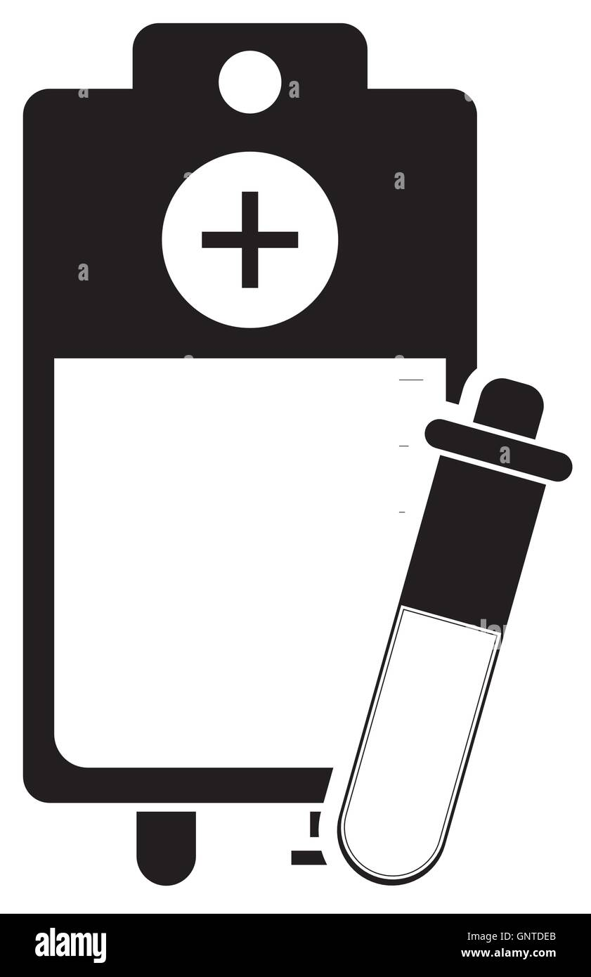 iv drip bag and test tube icon Stock Vector Art